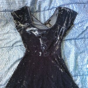 Velvet skater dress with criss-cross back